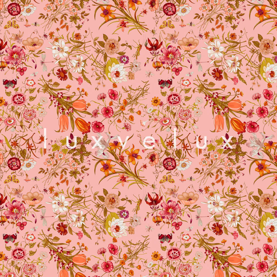 Marbling Floating Vivid Flowers Red Paola