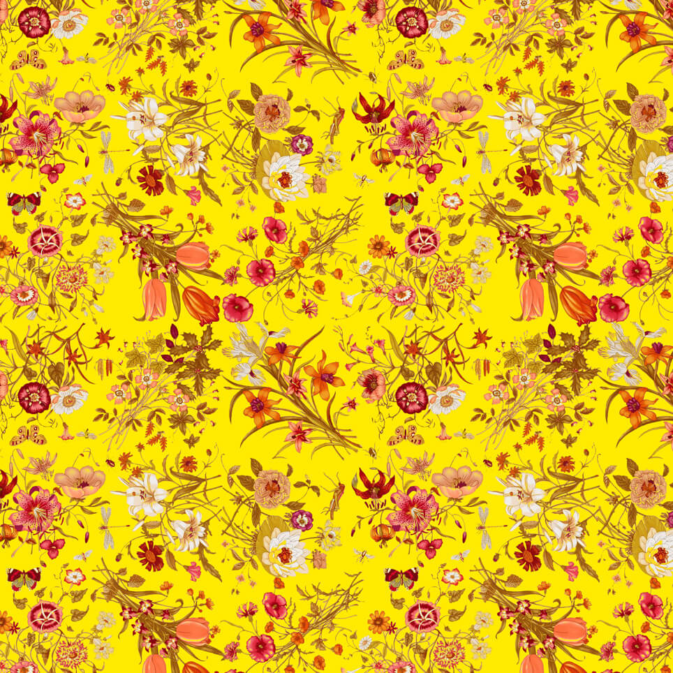Marbling Floating Vivid Flowers Yellow Paola
