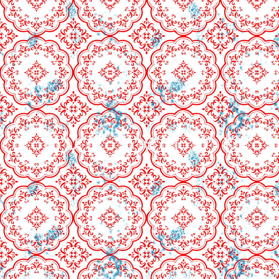 Stitched Tile Pattern Art White Gayle