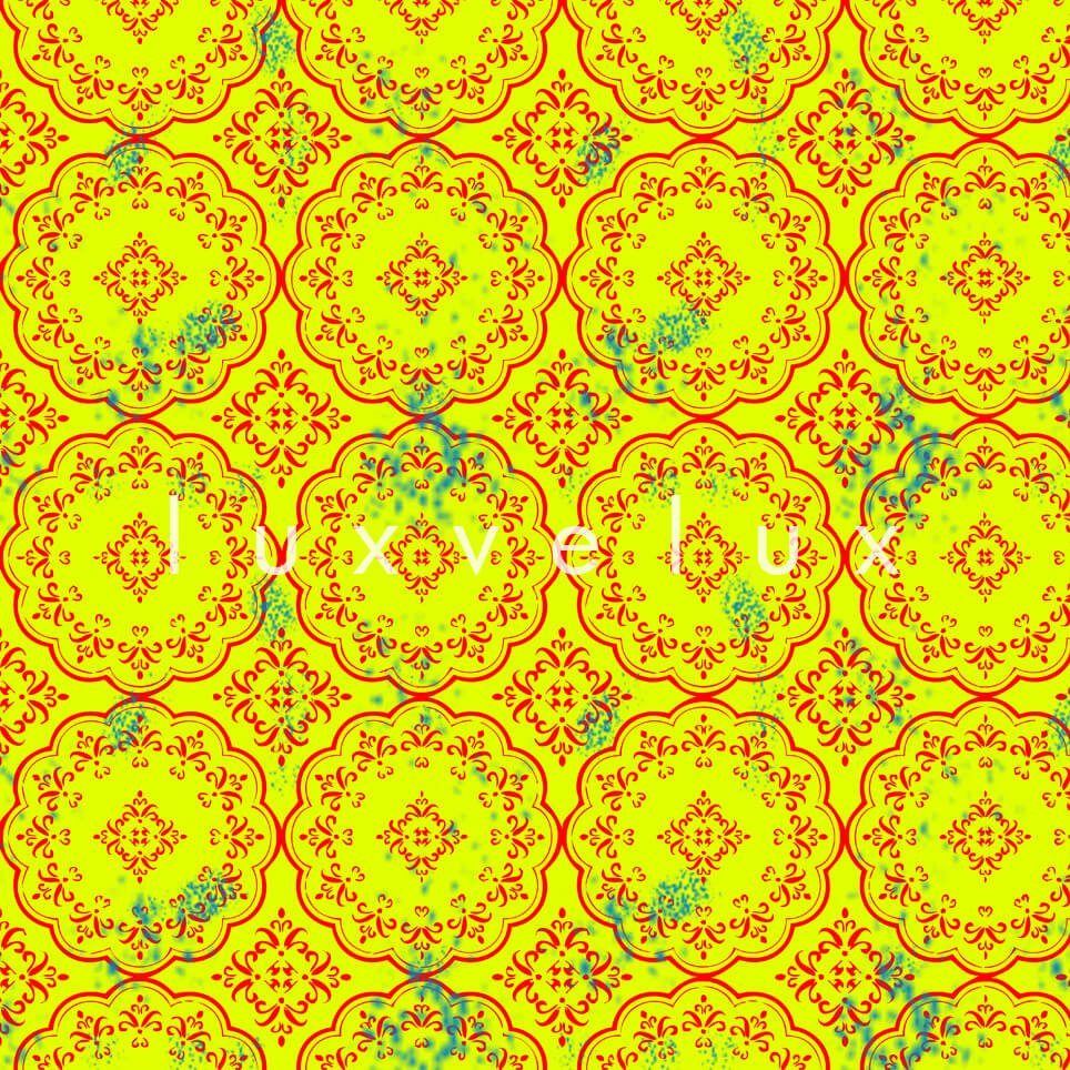 Stitched Tile Pattern Art Yellow Gayle