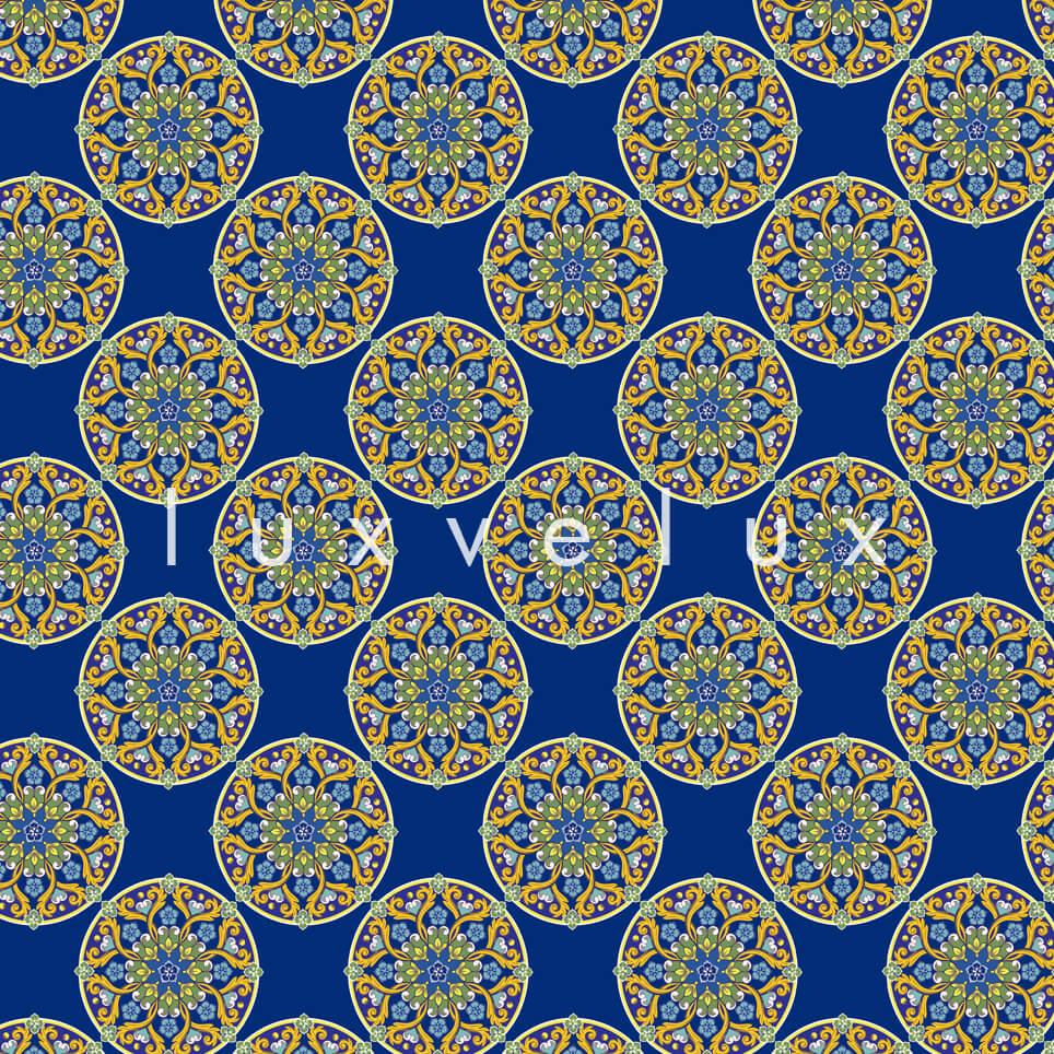 Tile Oranges on Flat Ground Blue Lily